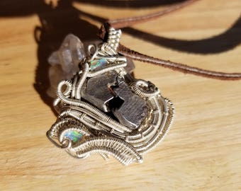 Sterling Silver Meteorite and Opal Wire Wrap