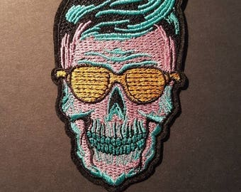 Psychedelic Cool Skull Iron On Patch