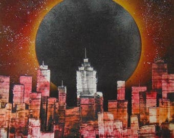 Spray Paint Art - Solar Eclipse Skyline