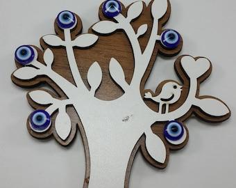 Handmade Laser Cut  Tree of Life with Evil Eye Magnet