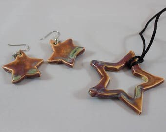Star Pottery Necklace and Earrings