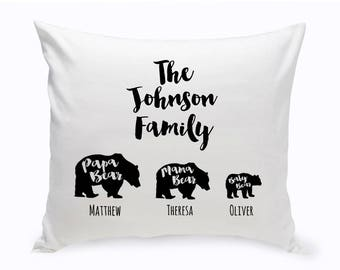 Personalized Bear Family Throw Pillow - Personalized Pillows - Family Decorative Pillows - Personalized Family Throw Pillows - Family Pillow