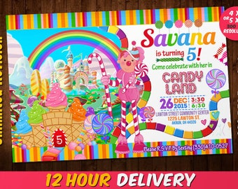 Candyland Invitations - Candy land Birthday Invitation - Candy Invitations - Cupcake Birthday - Cupcake Invitation