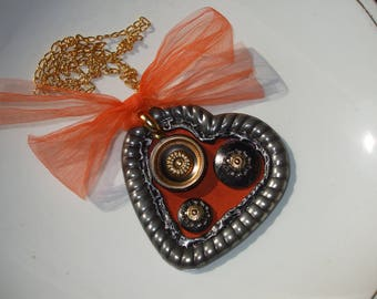 Orange Heart Necklace