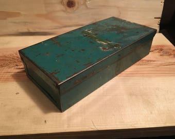 Small Vintage Metal Box Vintage Green metal tool box industrial storage box small metal box
