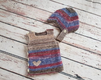 Hand knitted Newborn baby vest and hat set