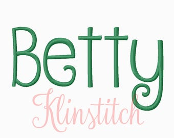 50% Sale!! Betty Embroidery Fonts 7 Sizes Fonts BX Fonts Embroidery Designs PES Fonts Alphabets - Instant Download