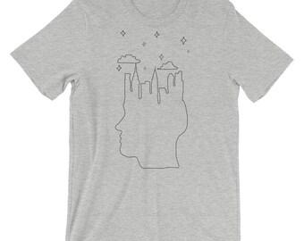 City Dreamer, Short-Sleeve, Unisex T-Shirt, Graphic Tee, Casual Tee, Night Sky Shirt, City Head Shirt, City Lovers, City Dreaming, Skyline