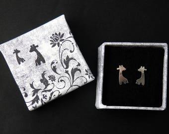 Handmad silver giraffe stud earrings, baby giraffe
