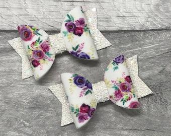 Toddler artisian floral glitter hair bows