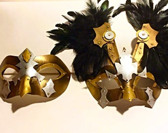 Marauders, couples masks, Mardi Gras, role playing, festival mask, costume, party mask, viking, metal mask, halloween, warrior masks