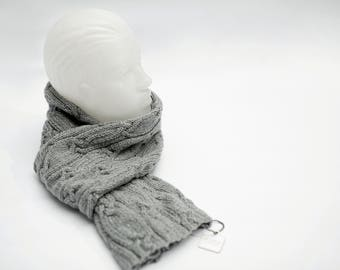 Cable Knit Scarf, Gray and Silver Scarf, Handmade Scarf, Gift for Her,