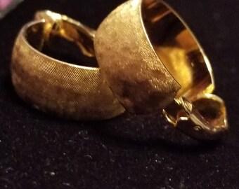 Vintage Trifari Gold hoop earrings