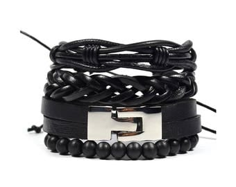 4 Pack Jet Leather Bracelet Set