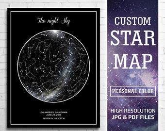 Custom Star Map, Star Map Personalized, Constellation Map Custom, Star Map Print, Star Map Printable, Gift For Couple, Personalized Star Map