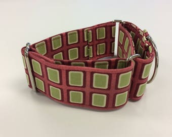 Martingale, Buckle, Limited Slip, Dog Collar / Red and Green/ Sighthound Collar / Training Collar