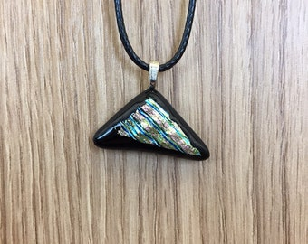 Multicolor Dichroic on Black Pendant