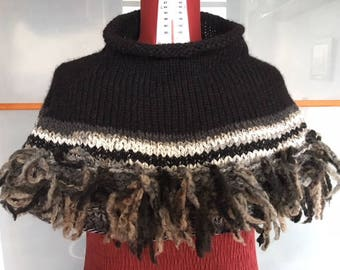 Women's handmade wool cape with black and white fringes