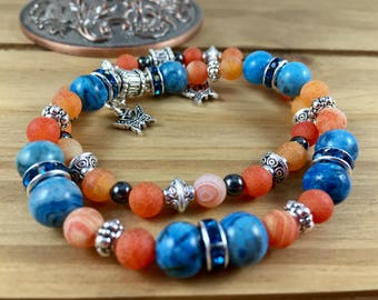 Stretch women bracelet set, blue, orange, black, silver tone