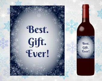 Printable Holiday Wine Label, Christmas, gift, host, hostess, funny, last minute, easy, DIY, friend, teacher, coworker, secret santa