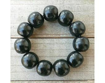 Black Painted Wood Bead Bracelet, Beaded Bracelets for Women, Wooden Bead Bracelet, Natural Wood Beaded Bracelet, Gifts for Her, 16mm Bead