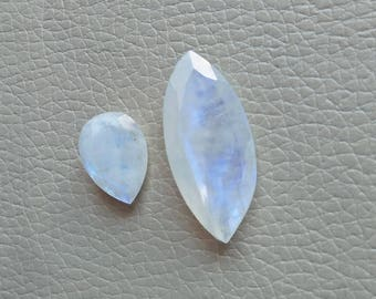 White Rainbow Cutting Gemstones, Weight 30 Carat 2 Piece Lot Stones, Gemstone Size 35x17x9, 19x15x7 MM Approx, Gemstone Wholesale Supply.