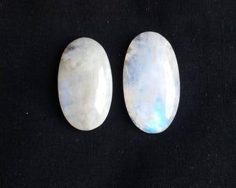 Natural White Rainbow Moonstone 112 Carat 2 Piece Stones, Gemstone Size 40x22x9, 35x21x10 MM Approx, White Rainbow Stone Wholesale Supply