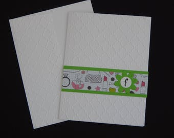Single Monogram Five Note Card Set - Diva