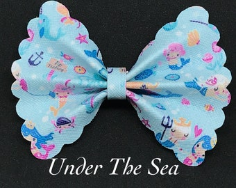 Under The Sea- Faux Leather Bow