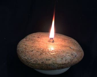 River rock candle, rock oil lamp, rock decor * FREE SHIPPING*