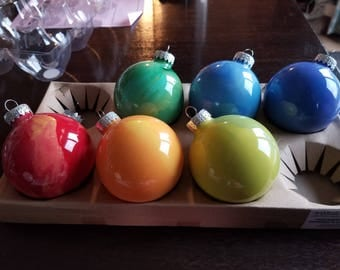Colorful Swirl Hand Painted Ball Ornament Set