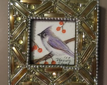 Miniature Tufted Titmouse Painting