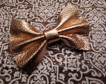 Rose Gold Leather Bow