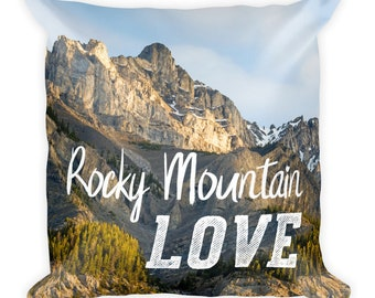 Rocky Mountain Pillow, Wilderness Throw Cushion with Insert, Modern Bedroom Home Decor for Kids, Men, Women, 18x18, Nature Lover Gift, Words