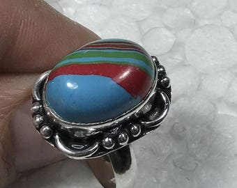 Rainbow Calsilica Sterling Silver Overlay Ring US Size 8.75  0B346