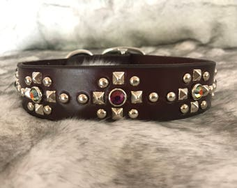 Mystic Point Leather Dog Collar