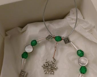 Forest in Snow Beaded Snowflake Ornament
