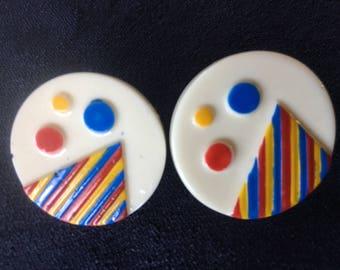 80's abstract pop geometric art new wave earrings
