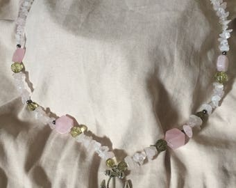 Rose quartz Anchor pendant Necklace