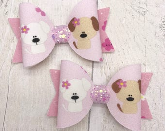 Cute puppies fabric & glitter Medium hair bow clip headband hair accessories nylon hair piece