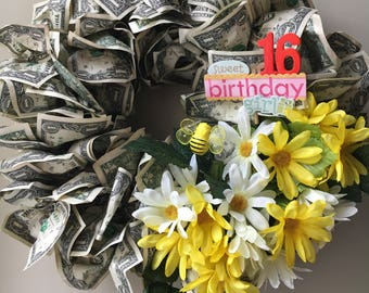 Wreath Made of Money for Birthday Gifts, Graduations, Baby Showers, Wedding Gifts - Made with real US Dollar Bills