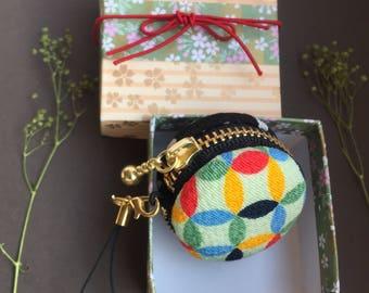 3.8 cm Macaron Case Japanese crepe Kimono style saving case/jewelry case Japanese pattern Macalon Case