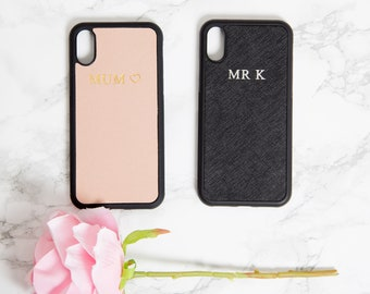 iphone X case, iphone X case Black,  Nude, Personalized Saffiano Leather Embossed iPhone X Monogram Custom Personalised Gold Silver Initial