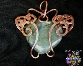 labradorite heart and copper