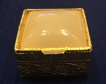 Cute onyx gold plated pill, treasure or trinket box.