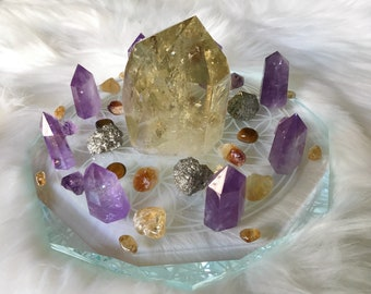 20cm Abundance and Prosperity Complete Set of Crystal Grid