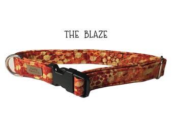 The Blaze Dog Collar, Orange dog collar, red dog collar, yellow dog collar, fabric dog collar, fashionable dog collar, unique dog collar