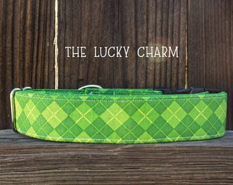The Lucky Charm dog collar, St. Patricks Day, Pattys day, holiday collar, Green dog collar, St. Patty's day dog collar