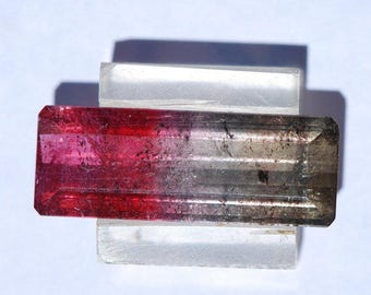 Watermelon Tourmaline, bi-color Faceted, Green Gray to Blue Gray to Deep Pink, 18.6ct, 30 x 10mm C4034