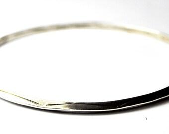 "Sterling Silver Round Etched Beveled Thin Bangle Bracelet 3mm 2 7/8"""